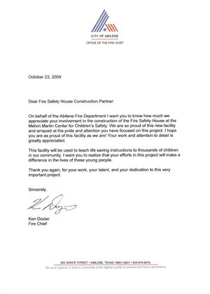 Safety House Construction Letter